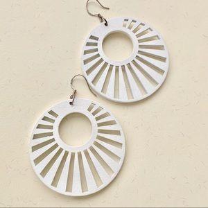 Jewelry - White geometric statement earrings wood